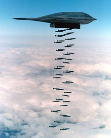 A B-2 Spirit dropping Mk.82 bombs. Source: US Air Force (public domain)
